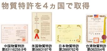 物質特許を4ヵ国で取得